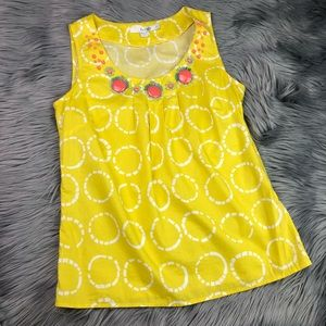 Boden Yellow Circle Patterned Embellished Tank Top